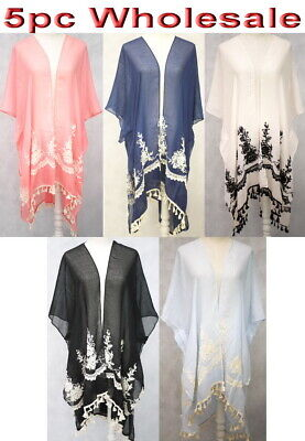 5pc Wholesale Large Embroidery Lace Cotton Women Kaftan blouse Top Free Size