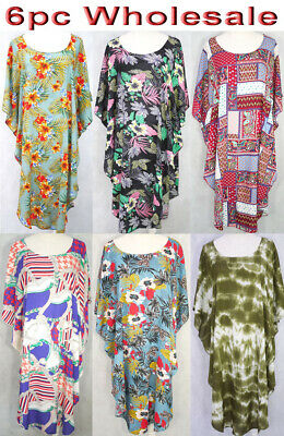 6pc Wholesale Large Women Summer Cotton Kaftan Caftan Boho Dress Free Size Mixed