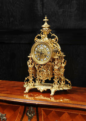 Japy Freres Antique French Gilt Bronze Portico Table Clock With Visible Pendulum