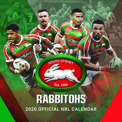 2020 NRL South Sydney Rabbitohs Square Wall Calendar by Paper Pocket 30 x 30cm