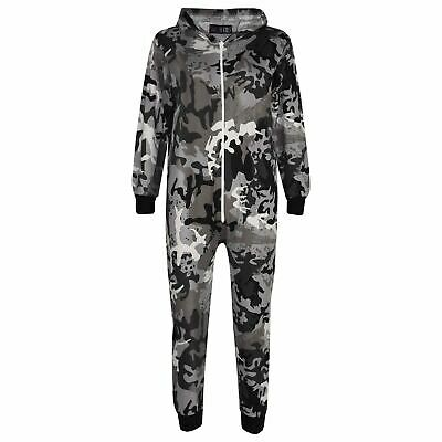 Kids Girls Boys Camouflage Charcoal Print A2Z Onesie One Piece Jumpsuit Playsuit