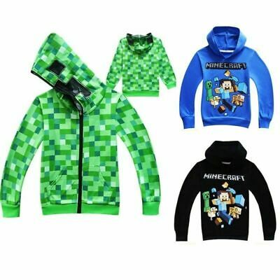 Minecraft Creeper Kids Boys Youth Hoodie Zip Coat Jacket Minecraft Top