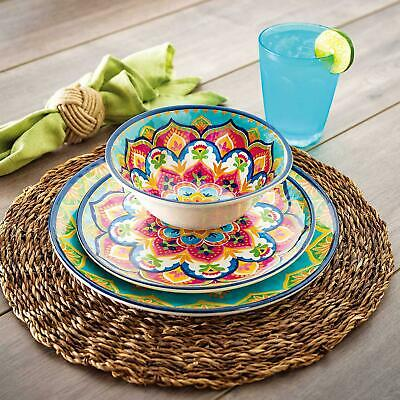 18-Piece Melamine Dinnerware Set Indoor Outdoor Service For 6 Mediterranean