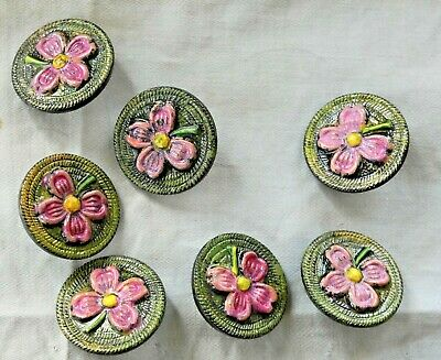 Lot 7 vintage old plastic hand painted flowers buttons
