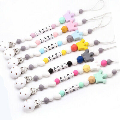 Safe Baby Teething Silicone Crown Beads Dummy Soother Chain Holder Pacifier Clip