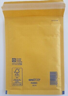 20 x Gold/Brown Arofol Classic Bubble Padded Envelope Mail -Size 3/C - 150x215mm