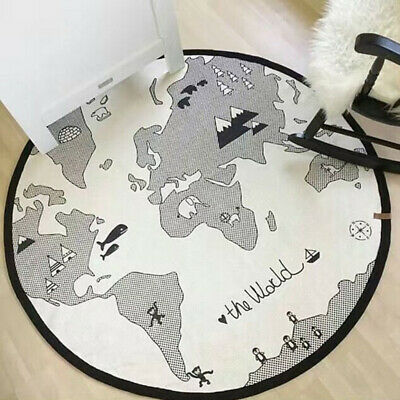 The World Map Baby Kids Play Mat Round Crawling Cotton Blanket Rug Portable AU