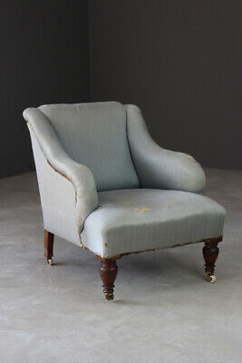 Antique Victorian Edwardian Small Fireside Chair Easy Armchair