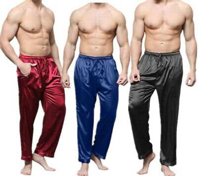 Mens Silk Satin Pajamas Pyjamas Long Pant Lounge Sleepwear Nightwear Trousers