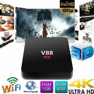 TV BOX Smart V88 Android Quad-Core 1GB+8GB WIFI 4K 3D HD 1080P Internet TV HOT