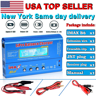 IMax B6 Digital LCD Lipo NiMh Battery balance Charger USA Fast Ship [2019 Latest