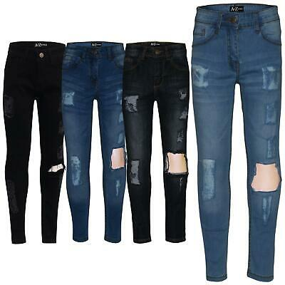 Kids Girls Stretchy Jeans Denim Ripped Faded Skinny Fashion Frayed Pant Jeggings
