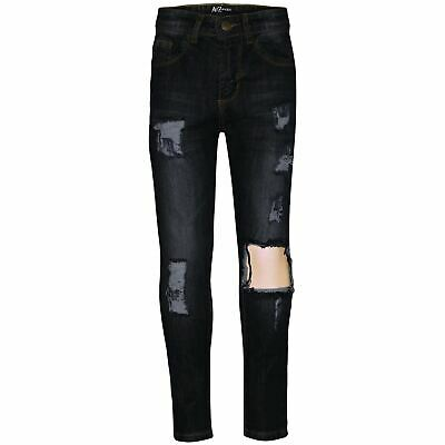Kids Girls Stretchy Jeans Black Denim Ripped Frayed Skinny Fashion Pant Jeggings