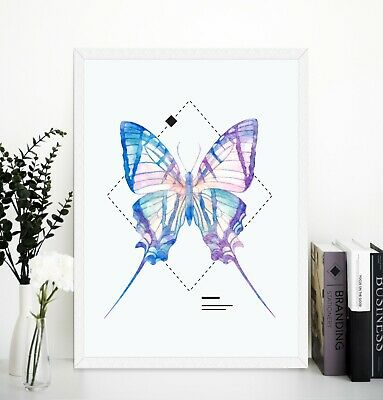 Geometric shapes and Butterfly wall art prints Framed or Unframed