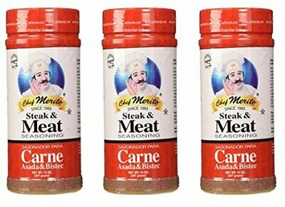 Chef Merito Carne Asada Meat Seasoning, 14 Ounce (Pack of 3)