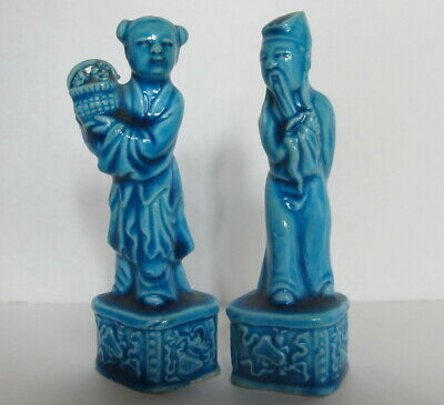 """Pair Antique Chinese Export Qing Dynasty Turquoise Man Woman Figurines 4"""""""