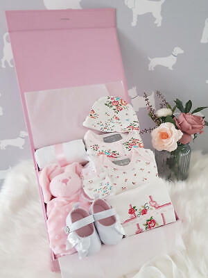 PERSONALISED 'Floral' New Baby Girl Gift Hamper, Baby Shower Gift Box LUXURY
