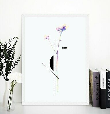 Geometric floral shapes and flowers wall art prints Framed or Unframed