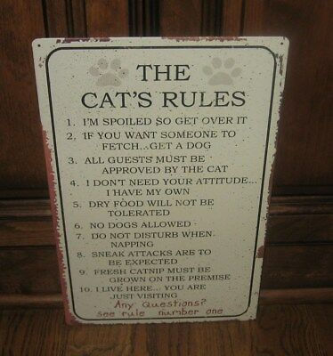 CAT Home RULES Sign/Message Board*Primitive Farmhouse/French Country Decor*NEW!