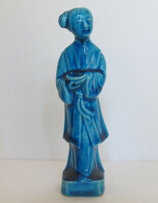"""Antique Chinese Export Turquoise Monochrome Lady Figurine 5"""""""