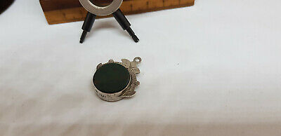 Antique Solid Silver Compass & Green Stone Pocket Watch Fob 5.9 G.