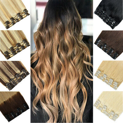 CLEARANCE 8PCS Clip In Real 100% Human Hair Extensions Full Head Skin Weft UK