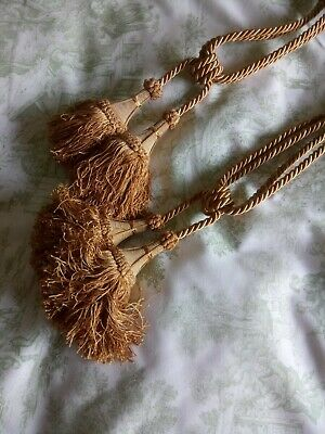 Pair Vintage French Curtain Tiebacks Gold Tassels Chateau Chic