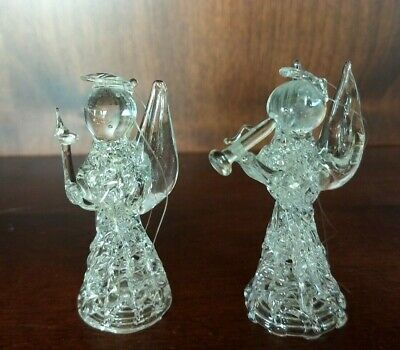Spun Glass Hanging Christmas 2 Angels Ornament 1 holding candle & 1 on trumpet