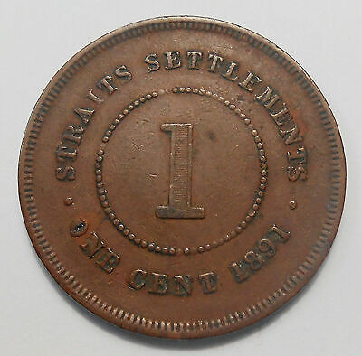 Straits Settlements 1891 Cent VF ** HIGH Grade British Crown Colony Copper Coin