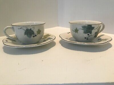 Mikasa Ivy Path Country Charm Tea Cups and Saucer  set of 2.