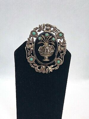 Antique Art Nouveau Sterling Silver Blue Turquoise Brooch With Birds