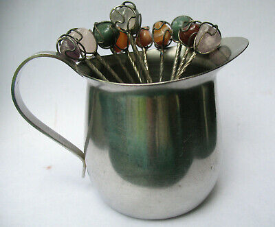 Vintage Demitasse Spoons Coffee Cocktail Polished Stone Twisted Wire Lot of 11
