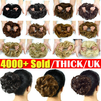 LARGE Curly Messy Bun Hair Piece Scrunchie Thick Hair Updo Extension HIGHLIGHTUK