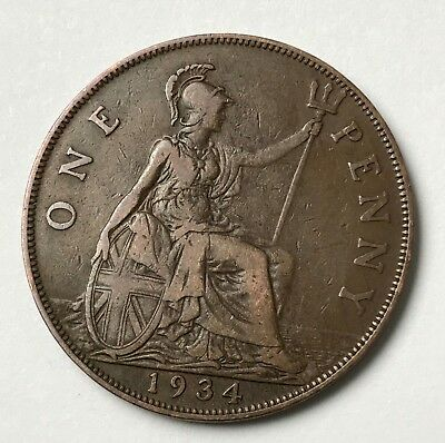 Dated : 1934 - One Penny - 1d - Coin - King George V - Great Britain
