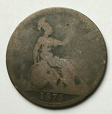 Dated : 1875 - One Penny - 1d Coin - Queen Victoria - Great Britain