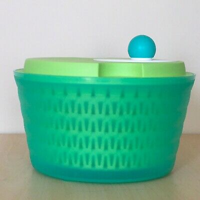 Tupperware Spin N' Save Salad Spinner Bowl with Lid 4 Piece Set 4 Qt Pre-Owned