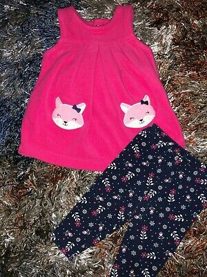Baby Girls Newborn Two Piece Outfit Set Pink Fleece Top Foxes Floral Pants Botto