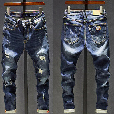 Mens Boys Slim Fit Ripped Jeans Stretch Biker Distressed Casual Denim Pants New