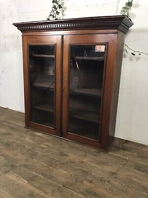 Antique Pine Victorian Library Bookcase Display Cabinet C.1870