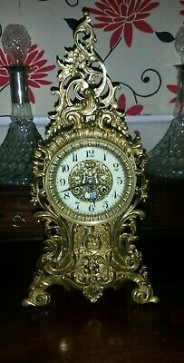 Japy Freres Antique French Brass Rococo Table Mantle Clock GWO  circa 1858