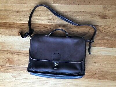 Vtg Coach Brown Leather Briefcase Messenger Work Bag Beekman