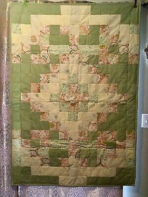 """Adorable Baby or Small Child's Quilt Green Colorful Patchwork 44""""x62"""""""