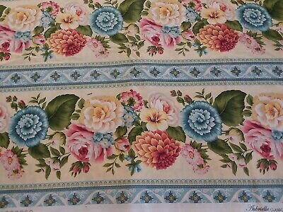 3 Yd Aubrielle Classically Home RJR Fabrics Blue Yellow Pink Floral Border Print