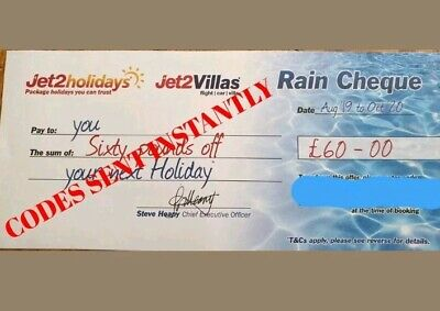 20 X Jet2 Holidays £60Rain Cheque voucher valid till OCT 2020 BRAND NEW CODES