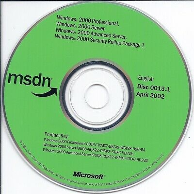 MICROSOFT WINDOWS 2000 Server 2 CD in case with key good