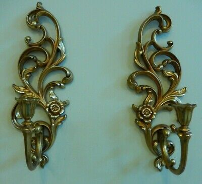 Vintage Pair Goldtone Syroco Inc Ornate Candle Holder Wall Sconce 4531R Made USA