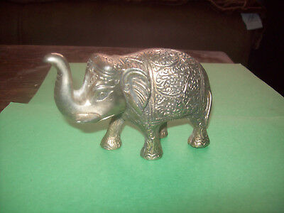 Vintage Silver Color Metal Engraved Elephant Figurine