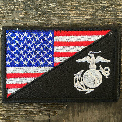 USMC Marine Corps American Flag US Military Tactical Morale Badge Subdued Patch