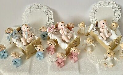 Cradle and Babies Set.Cake Topper.