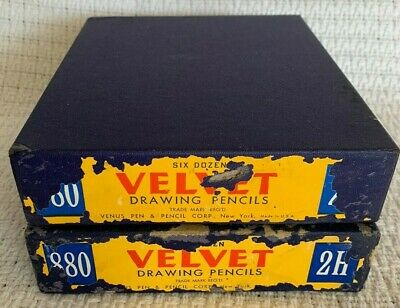 2 Vintage Cases of VELVET Drawing Pencils - 144 total pencils - Venus USA 880 2H